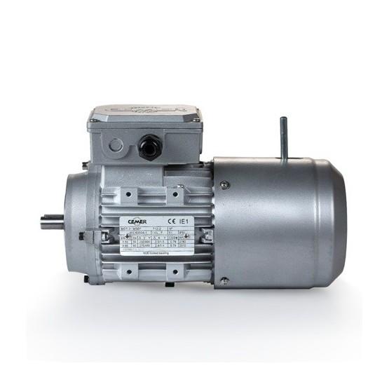 Motor eléctrico trifásico con freno 71B14 (ØEje motor 14 mm, ØBrida 105 mm), 1500 rpm, 220/380V, 0.55kW/0.75CV, IP54, IE1, tensión freno 220/380V (ca)