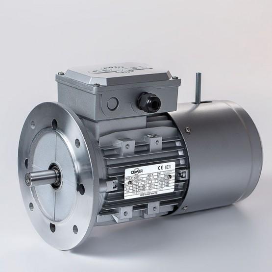 Motor eléctrico trifásico con freno 80B5 (ØEje motor 19 mm, ØBrida 200 mm), 3000 rpm, 220/380V, 0.75kW/1CV, IP54, IE1, tensión freno 220/380V (ca)